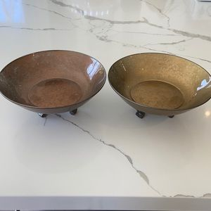 2 Vintage Glass Decorative Footed Bowls/Dishes